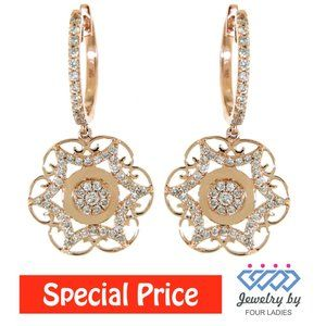 Diamond Floral Cluster Dangling Earrings Rose Gold